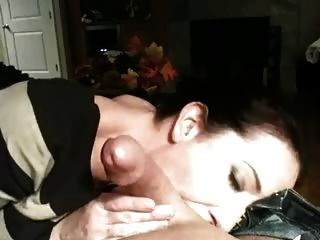 Sucking balls until cum