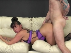 German pierced pussy in red panties playing with dildo XXX
